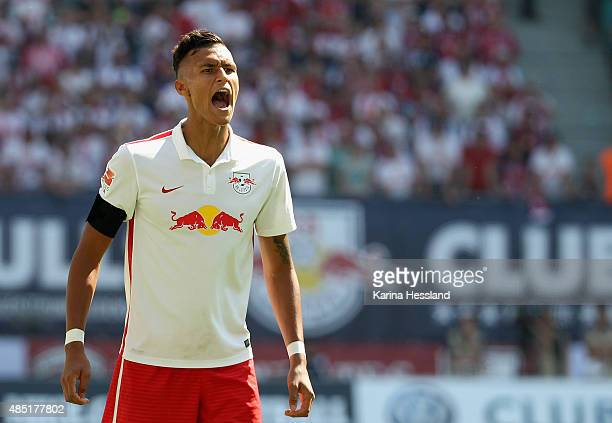 Davie Selke of Leipzig reacts during the Second League match between RB Leipzig and FC StPauli at RedBull Arena on August 23 2015 in Leipzig Germany
