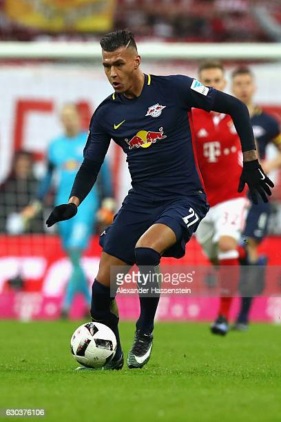 Davie Selke of Leipzig runs with the ball during the Bundesliga match between Bayern Muenchen and RB Leipzig at Allianz Arena on December 21 2016 in...