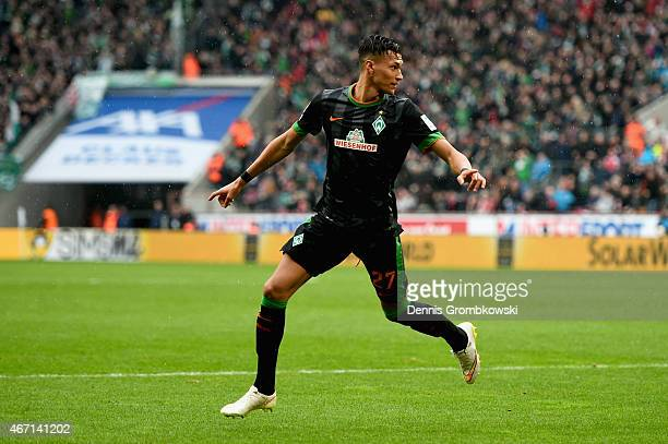Davie Selke of SV Werder Bremen celebrates as he scores the opening goal during the Bundesliga match between 1 FC Koeln and SV Werder Bremen at...