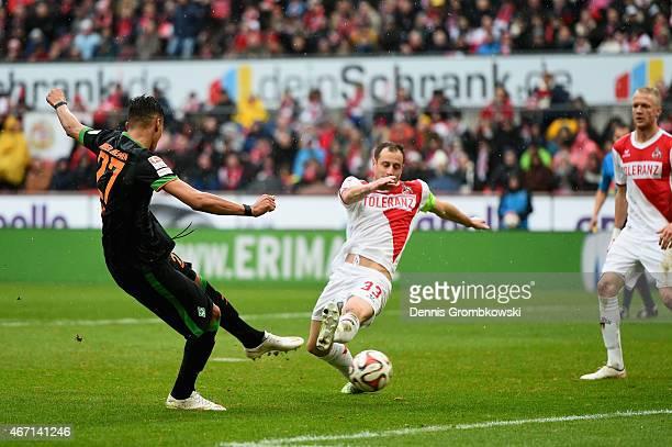 Davie Selke of SV Werder Bremen scores the opening goal during the Bundesliga match between 1 FC Koeln and SV Werder Bremen at RheinEnergieStadion on...