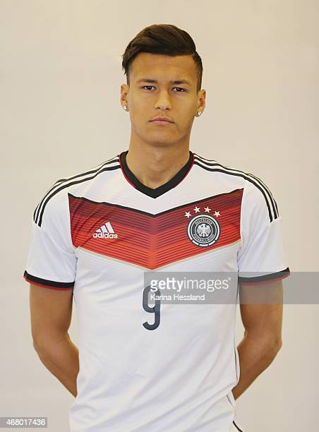 Davie Selke of the German national team poses during the team presentation of U20 Germany on March 29 2015 in Jena Germany