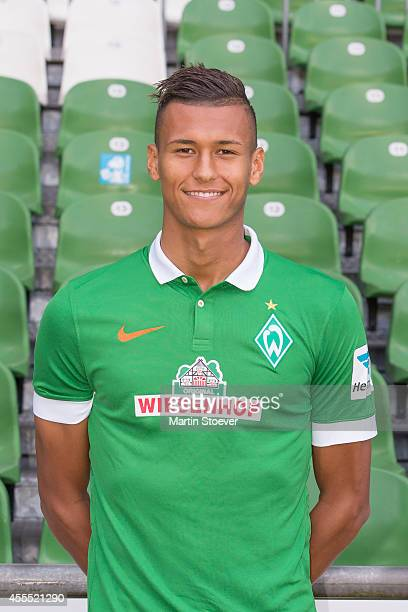 Davie Selke pose during the official team photo at Weserstadion on September 14 2014 in Bremen Germany