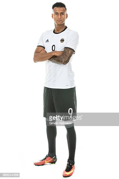 Davie Selke poses during the German Olympic Football Team Photocall on July 30 2016 in NeuIsenburg Germany