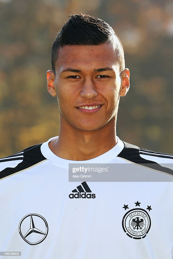 Davie Selke poses during the Germany U18 team presentation at Commerzbank Arena on November 12, 2012 in Frankfurt am Main, Germany.