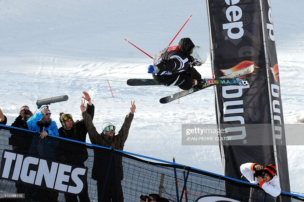 US Davin Logan competes during women's Ski Superpipe final of the European Winter XGames on March 18 2011 in the French Alps ski resort of Tignes...