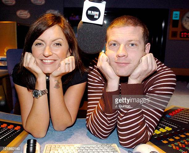 Davina McCall and Dermot O'Leary during Davina McCall And Dermot O'Leary Make UK Radio History As They Launch UK Radio Aid 6am Monday 17th January at...