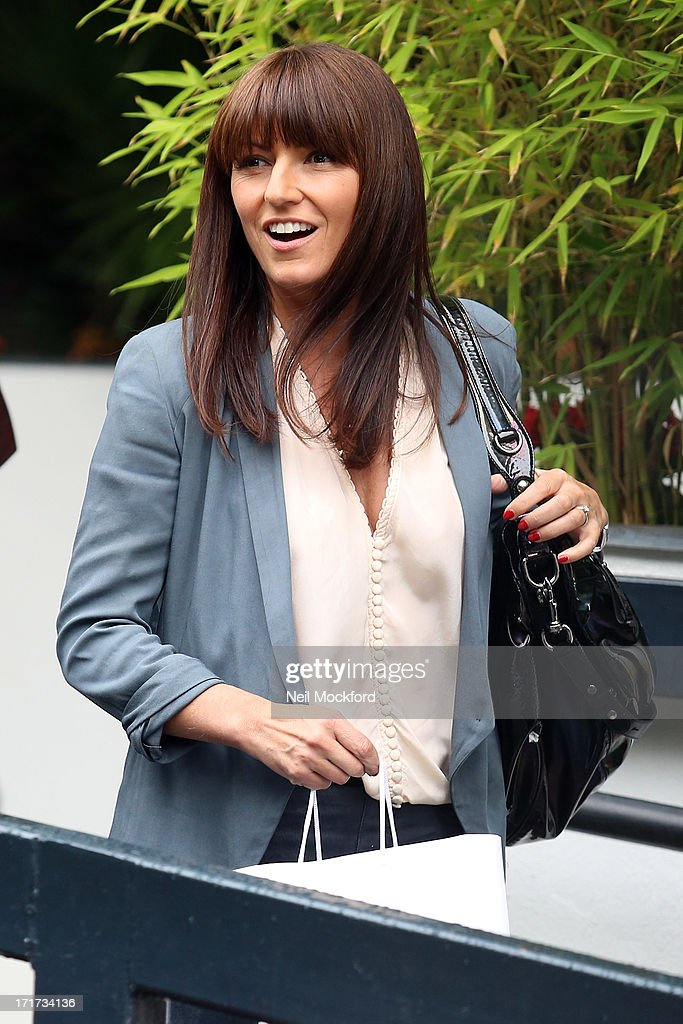 <a gi-track='captionPersonalityLinkClicked' href=/galleries/search?phrase=Davina+McCall&family=editorial&specificpeople=203323 ng-click='$event.stopPropagation()'>Davina McCall</a> seen leaving the ITV Studios after the last 'Loose Women' of the year show on June 28, 2013 in London, England.