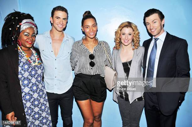 Da'Vine Joy Randolph Richard Fleeshman Beyonce Knowles Caissie Levy and Bryce Pinkham pose backstage at the hit musical 'GHOST' on Broadway at The...