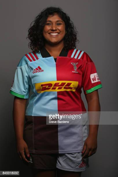 Davinia Catlin of Harlequins Ladies poses for a portrait during the Harlequins Ladies Squad Photo call for the 2017/18 Tyrrells Premier 15s Season at...