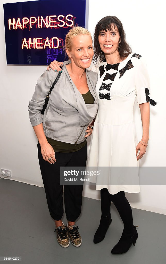 <a gi-track='captionPersonalityLinkClicked' href=/galleries/search?phrase=Davinia+Taylor&family=editorial&specificpeople=215154 ng-click='$event.stopPropagation()'>Davinia Taylor</a> and Zoe Grace attend a private view of 'Art Electric', a collaboration between artists Zoe Grace and John Morrissey, at Lawrence Alkin Gallery on May 26, 2016 in London, England.