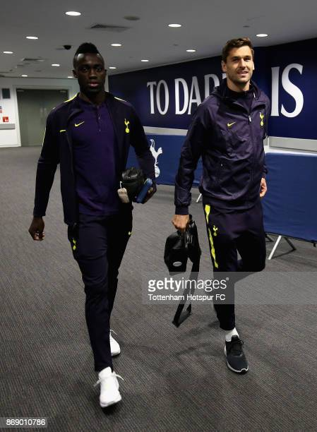 Davinson Sanchez and Fernando Llorente of Tottenham Hotspur arrive prior to the UEFA Champions League group H match between Tottenham Hotspur and...