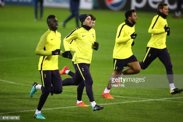 Davinson Sanchez Christian Eriksen Ben Davies Mousa Dembele and Jan Vertonghen of Tottenham Hotspur during a Tottenham Hotspur training session ahead...