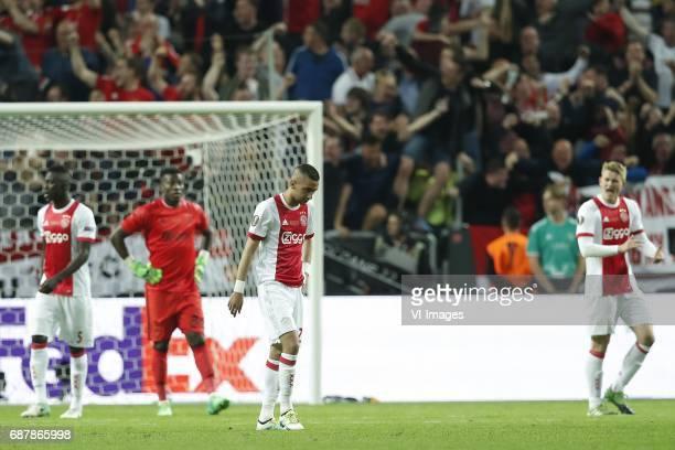 Davinson Sanchez of Ajax goalkeeper Andre Onana of Ajax Hakim Ziyech of Ajax Matthijs de Ligt of Ajaxduring the UEFA Europa League final match...