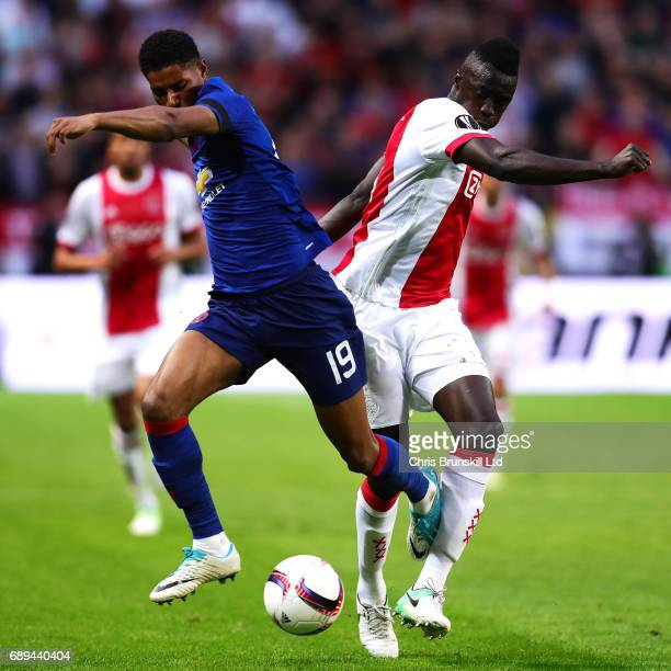 Davinson Sanchez of Ajax in action with Marcus Rashford of Manchester United during the UEFA Europa League Final match between Ajax and Manchester...