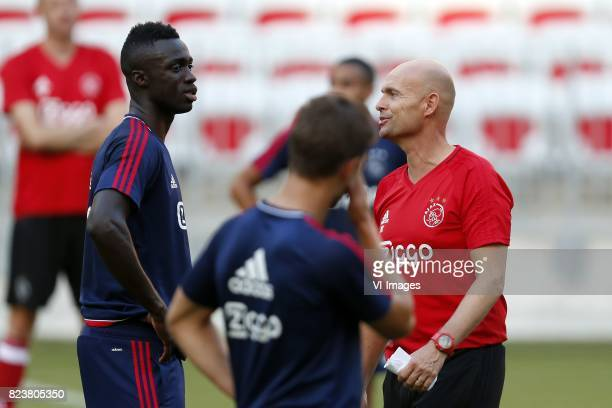 Davinson Sanchez of Ajax Joel Veltman of Ajax coach Marcel Keizer of Ajax during a training session prior to the third round qualifying first leg...
