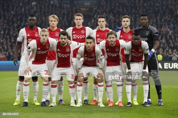 Davinson Sanchez of Ajax Kasper Dolberg of Ajax Matthijs de Ligt of Ajax Nick Viergever of Ajax Joel Veltman of Ajax goalkeeper Andre Onana of Ajax...