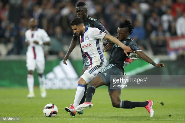 Davinson Sanchez of Ajax Nabil Fekir of Olympique Lyonnais Bertrand Traore of Ajaxduring the UEFA Europa League semi final match between Olympique...