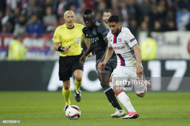 Davinson Sanchez of Ajax Nabil Fekir of Olympique Lyonnaisduring the UEFA Europa League semi final match between Olympique Lyonnais and Ajax...