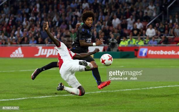 Davinson Sanchez of Ajax scores a goal to make it 21 during the UEFA Champions League Qualifying Third Round match between Ajax and OSC Nice at...