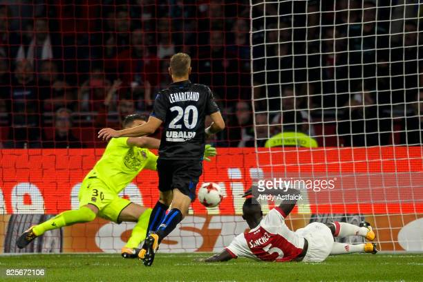 Davinson Sanchez of AJAX scores during the UEFA Champions League Qualifying Third Round Second Leg match between AJAX Amsterdam and OSC Nice at...