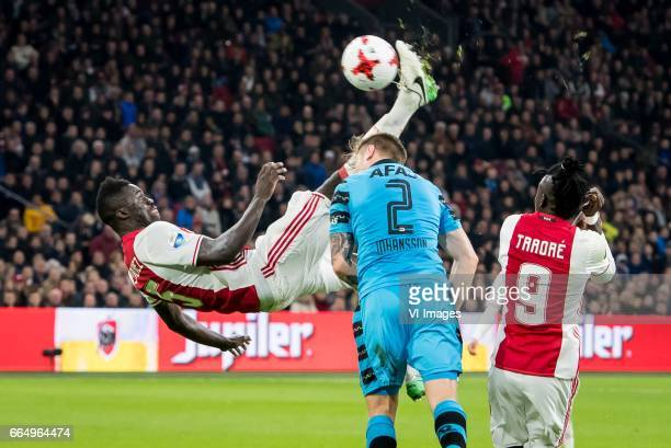 Davinson Sanchez of Ajax scores with a bicycle kick 21during the Dutch Eredivisie match between Ajax Amsterdam and AZ Alkmaar at the Amsterdam Arena...