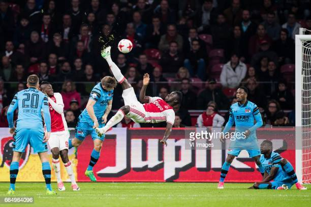 Davinson Sanchez of Ajax scoresduring the Dutch Eredivisie match between Ajax Amsterdam and AZ Alkmaar at the Amsterdam Arena on April 05 2017 in...