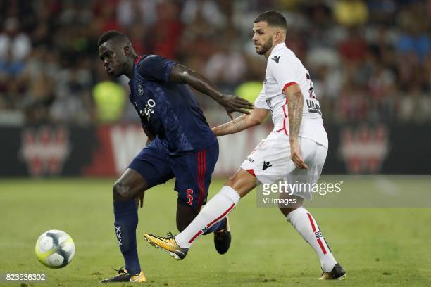 Davinson Sanchez of Ajax Valentin Eysseric of OCG Nice during the UEFA Champions League third round qualifying first leg match between OGC Nice and...