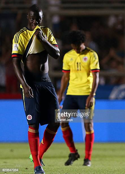 Davinson Sanchez of Colombia looks dejected after a match between Argentina and Colombia as part of FIFA 2018 World Cup Qualifiers at Bicentenario de...