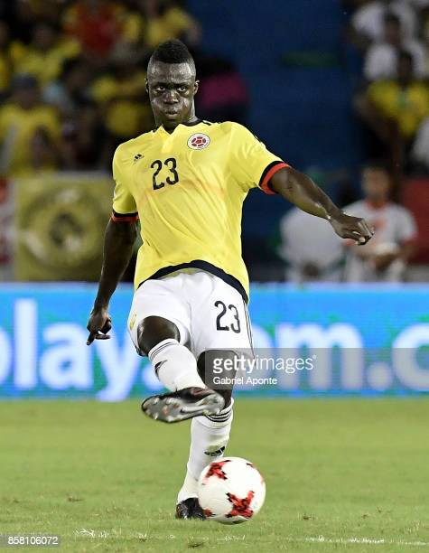 Davinson Sanchez of Colombia plays the ball during a match between Colombia and Paraguay as part of FIFA 2018 World Cup Qualifiers at Metropolitano...