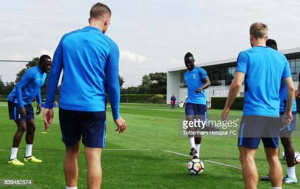 Davinson Sanchez of Spurs during a Tottenham Hotspur training session at Tottenham Hotspur Training Centre on August 26 2017 in Enfield England