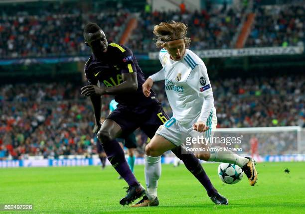 Davinson Sanchez of Tottenham Hotspur and Luka Modric of Real Madrid battle for possession during the UEFA Champions League group H match between...
