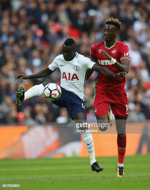 Davinson Sanchez of Tottenham Hotspur and Tammy Abraham of Swansea City battle for possession during the Premier League match between Tottenham...