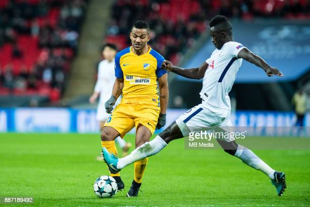 Davinson Sanchez of Tottenham Hotspur Lorenzo Ebecilio of Apoel Nicosia runs with the ball during the UEFA Champions League group H match between...