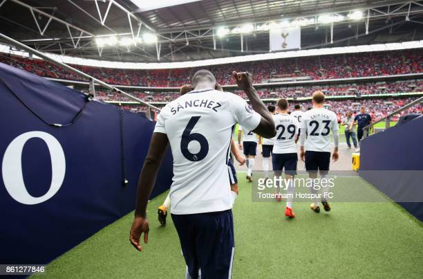 Davinson Sanchez of Tottenham Hotspur walks out for the second half during the Premier League match between Tottenham Hotspur and AFC Bournemouth at...