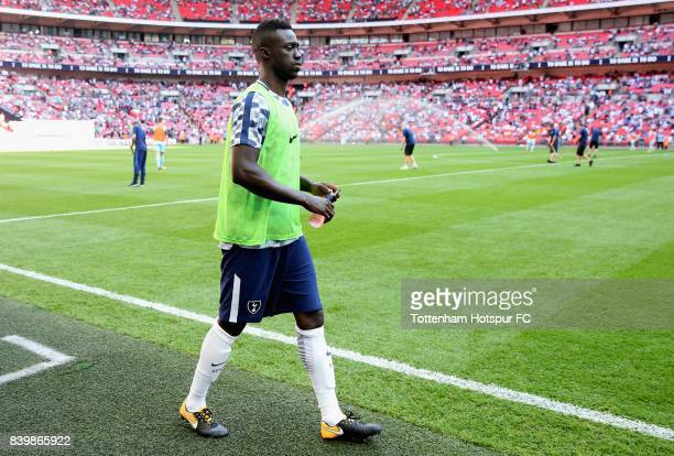 Davinson Sanchez of Tottenham Hotspur warms up during to the Premier League match between Tottenham Hotspur and Burnley at Wembley Stadium on August...