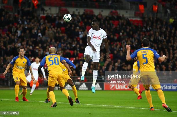 Davinson Sanchez of Tottenham Hotspur wins a header during the UEFA Champions League group H match between Tottenham Hotspur and APOEL Nicosia at...