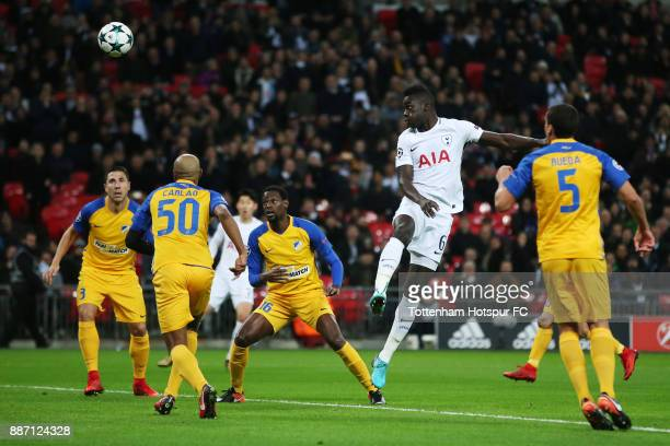 Davinson Sanchez of Tottenham Hotspur wins a header during the UEFA Champions League group H match between Tottenham Hotspur and APOEL Nicosia at...
