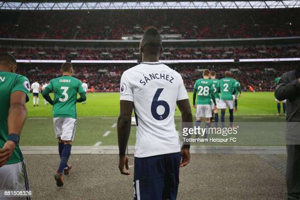 Davinson Sanchez of Tottenham walks out for the second half during the Premier League match between Tottenham Hotspur and West Bromwich Albion at...