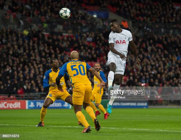 Davinson Sánchez of Tottenham Hotspur heads for goal during the UEFA Champions League group H match between Tottenham Hotspur and APOEL Nikosia at...