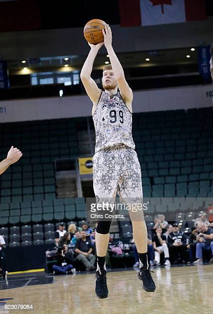 Davis Bertans of the Austin Spurs shoots a jump shot against the Oklahoma City Blue at the HEB Center At Cedar Park on November 13 2016 in Cedar Park...