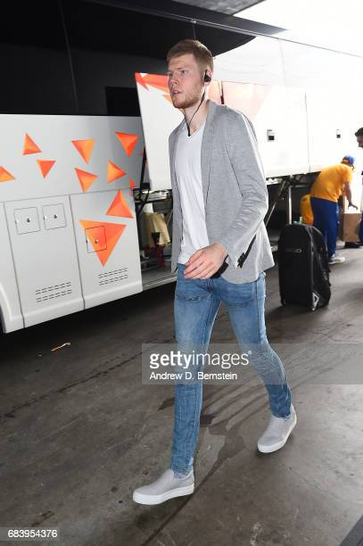 Davis Bertans of the San Antonio Spurs arrives before Game Two of the Western Conference Finals of the 2017 NBA Playoffs on May 16 2017 at ORACLE...