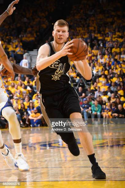 Davis Bertans of the San Antonio Spurs drives to the basket against the Golden State Warriors during Game Two of the Western Conference Finals of the...