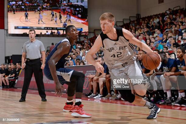 Davis Bertans of the San Antonio Spurs drives to the basket against the New Orleans Pelicans during the 2017 Las Vegas Summer League game on July 13...