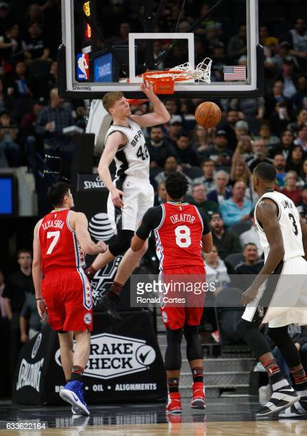 Davis Bertans of the San Antonio Spurs dunks against the Philadelphia 76ers at ATT Center on February 2 2017 in San Antonio Texas NOTE TO USER User...