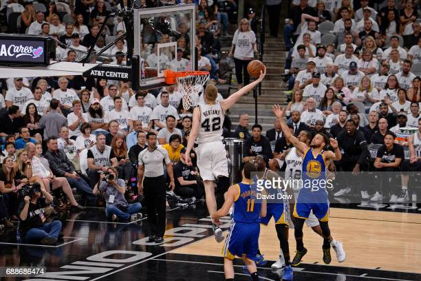 Davis Bertans of the San Antonio Spurs dunks the ball against the Golden State Warriors in Game Four of the Western Conference Finals during the 2017...