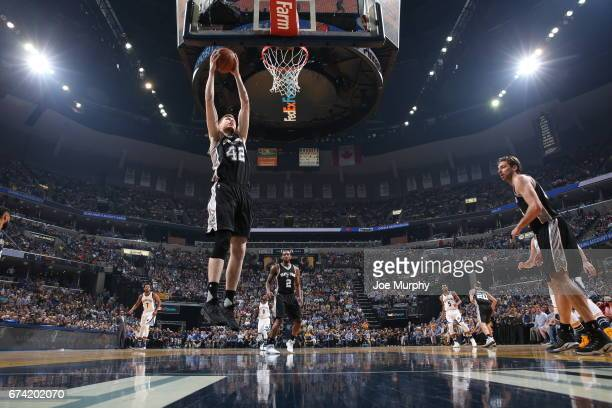 Davis Bertans of the San Antonio Spurs grabs the rebound against the San Antonio Spurs during Game Six of the Western Conference Quarterfinals of the...