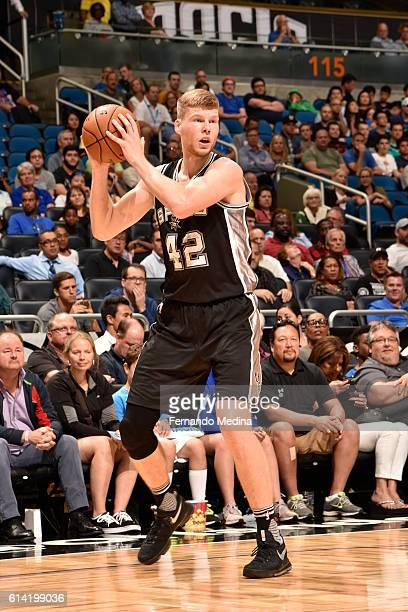 Davis Bertans of the San Antonio Spurs handles the ball against the Orlando Magic on October 12 2016 at the Amway Center in Orlando Florida NOTE TO...