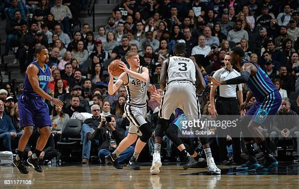 Davis Bertans of the San Antonio Spurs handles the ball against the Charlotte Hornets on January 7 2017 at the ATT Center in San Antonio Texas NOTE...