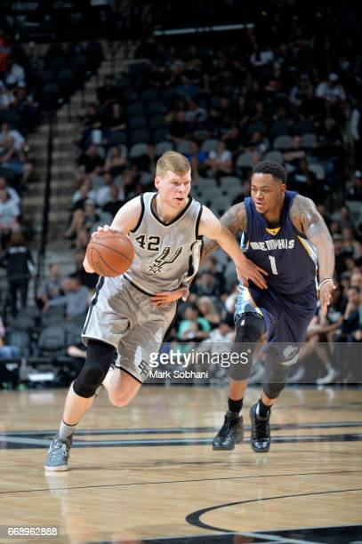 Davis Bertans of the San Antonio Spurs handles the ball against the Memphis Grizzlies in Game One of Round One during the 2017 NBA Playoffs on April...