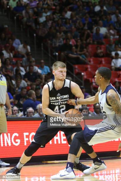 Davis Bertans of the San Antonio Spurs handles the ball against the Utah Jazz on July 3 2017 at Jon M Huntsman Center in Salt Lake City Utah NOTE TO...